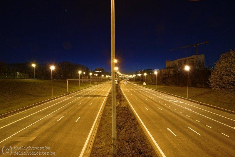 Ring rond Antwerpen, rond 20h 's avonds en nauwelijks verkeer