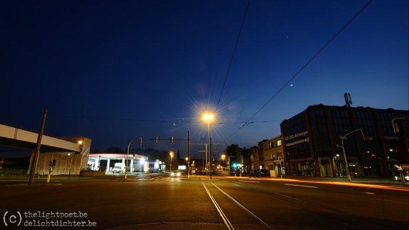 Kruispunt 'Schijnpoort', waar het normaal gezien aanschuiven is op dit uur...