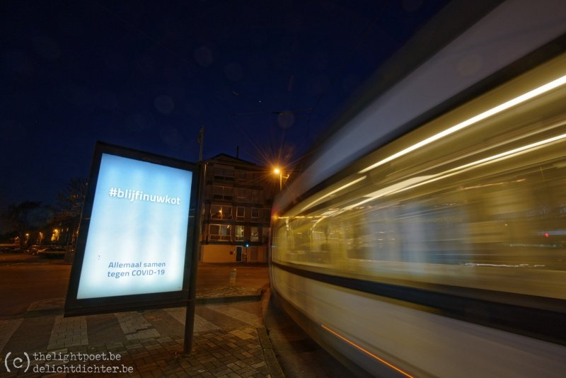 #blijfinuwkot (en inderdaad, de tram is leeg)